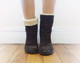 Shearling boots | Brown leather fur boots by cubesvintage | size 39 eur