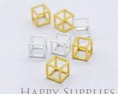 3D Geometric Square Cube 24K Golden / 925 Silver Plated Brass Pendant (3D01)