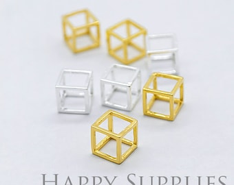 3D Geometric Square Cube 24K Golden / 925 Silver Plated Brass Pendant (3D01)