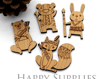 2Pcs Large Handmade Lovely Animal Wooden Charms / Pendants (LC049)