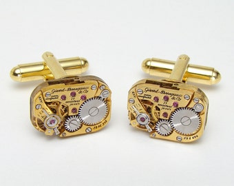 Genuine Girard Perregaux Watch Cuff Links, Steampunk Cufflinks, Wedding Anniversary Grooms Gift, Vintage Gold Cufflinks, Mens Jewelry
