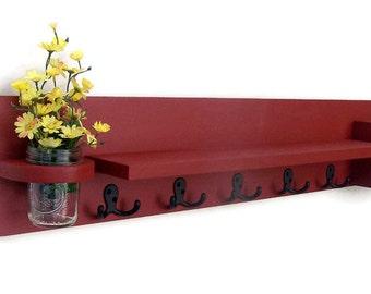 Coat Rack Shelf with Mail Holder Mason Jar- Coat Shelf - Coat Holder - Coat Hooks - Painted Wood Shelf