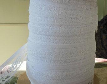 Roll White Pansy Lace Trim 1 inch Wide, Destash