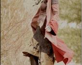 Hooded Bohemian Jacket - Steampunk Clothing - Bohemian Gypsy Coat - Burning Man - Boiled Wool - Princess A Line - Size Small