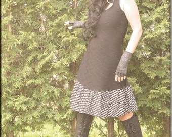 Dress - Steampunk - Bohemian Gypsy - Burning Man - Playa wear - Boho Fashion - Sexy - Short Dress - Black and White - Size X- Small