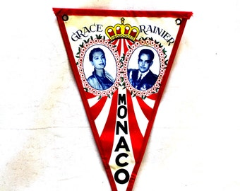 Vintage Grace and Rainer Wedding Pennant. RARE. Monaco Flag. 1956. Prince Rainer & Grace Kelly. Waxed Canvas. Vintage Souvenir Banner Flag