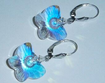 925 Sterling Silver Swarovski Crystal Clear AB 2x Butterfly Dangle Earrings