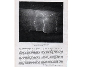 1913 LIGHTNING print original antique weather storm lithograph - flashpoint