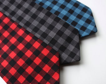 Limited Edition- Little and Big Guy NECKTIE Tie - BUFFALO PLAID - (Newborn-Adult)- Baby Boy Toddler Teen Man - Fall Autumn Christmas Holiday