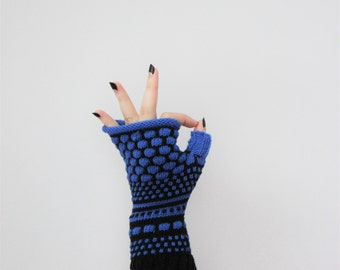 Merino wool fingerless, royal blue gloves, colorful arm warmers, exciting tennagers fingerless, Christmas gift for her