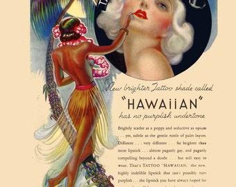 vintage art deco advertisement tattoo your lips cosmetic hawaiian hula dancer and flapper girl illustration digital download