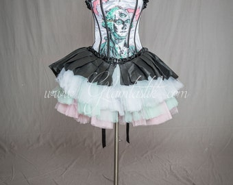 "READY TO SHIP Size Medium ""One Of A Kind"" White Taffeta Hand Painted George Washington Shantung and tiered tulle burlesque prom dress"