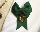 Duchess Bow Ribbon & Gem Pin Emerald Green