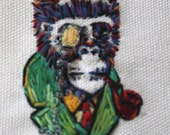 Embroidered Victorian Gorilla Smoking With Monocle Green Collar SteamPunk - Framed and Hand Stitched