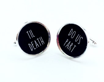 Halloween Wedding, Til Death Do Us Part, Wedding Cufflinks, Anniversary Gift, Groom Gift, Personalized Wedding Vow Gift, Cuff Links For Him