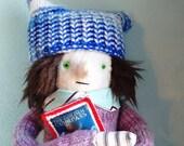 Teenage Girl Plush Doll Fabric Softie with Book