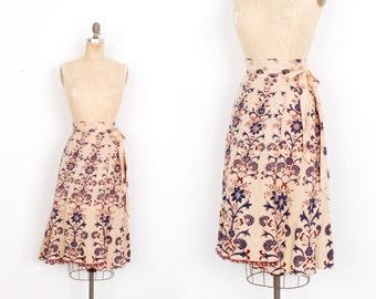 Vintage 1970s Skirt / 70s Indian Cotton Floral Wrap Skirt / Burgundy and Blue (M L)