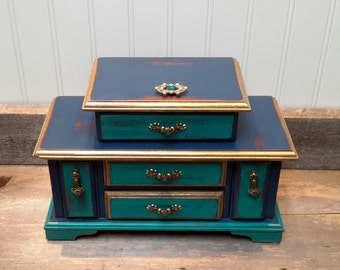 DOWNTON ABBEY INSPIRED Jewelry Box in Teal and Navy and Gold  Shabby chic