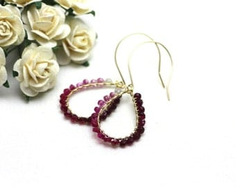 Ombre Ruby Chandelier Earrings in Gold | Gradient of Pink and Red Wire Wrapped Ruby Gemstones | Yasmin Earrings by Azki