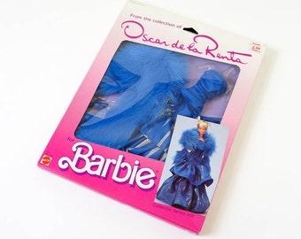 Vintage 1980s Toy Doll Clothes / 1985 Mattel Oscar de la Renta Barbie Collector Series VIII Dress In Box VGC / Ballgown, Faux Fur Boa, Shoes