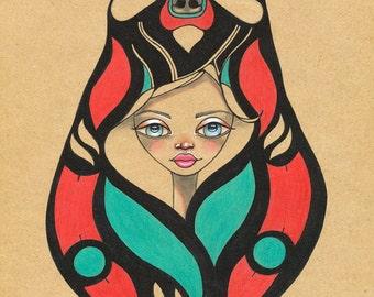 Spirit Animal Totem Pacific Northwest Bear Strength Original Art Giclee fine art print 8x10