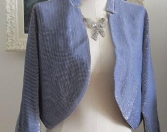 Blue Lurex Chrome Spun Vintage 1950's Bolero Jacket Larger Size