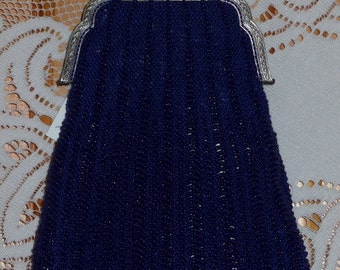 Cobalt Blue Beaded Knit Purse on Antique Whiting & Davis Purse Frame
