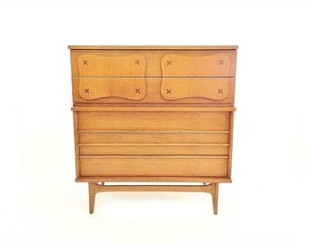 Vintage Mid Century Highboy In Wood