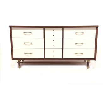 Vintage Modern Lowboy In Wood and White