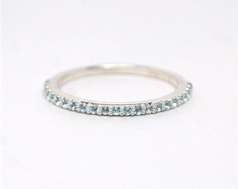 Anniversary Band Blue Aquamarine 14k Gold Ring Half Eternity Micro Pave Wedding Birthstone Band 14k Yellow Rose or White Gold and Platinum