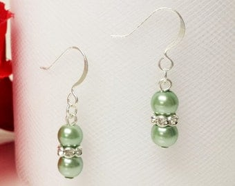 Light Sage Green Pearl Earrings - Traditional Bridesmaid Earrings - 6mm Rondelle Rhinestone Flower Girl Earrings