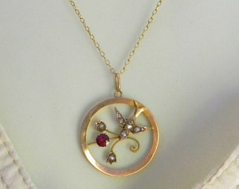 Antique Victorian 9ct Lavalier Pendant Necklace, Seed Pearl Swallow Bird Pendant with Garnet, Round Lavalier Necklace, Solid Gold 1800s UK