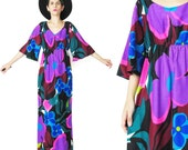 60s 70s Hawaiian Maxi Dress Angel Sleeve Dress Tropical Floral Print Dress Flower Power Dress Caftan Neon Black Purple Hippie Boho (S/M)