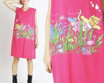 1990s CAT Print Tshirt Dress Kitty Beach Dress Hot Pink Cotton Oversize Tank Dress Sea Ocean Screen Printed Tee Plus Size Pajama Top (L/XL)