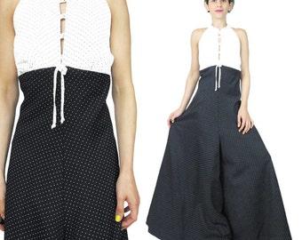 Vintage 1970s Wide Leg Jumpsuit Black and White Polka Dot Print Jumpsuit Cut Out Neckline Halter Neck Jumpsuit Romper Palazzo Pantsuit (M)
