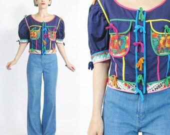 25% OFF SALE Vintage Moschino Jacket Cropped Navy Jacket Rainbow Bows Puffed Short Sleeve Jacket Abstract Print Cotton Designer Blazer (M)