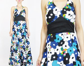 60s 70s Floral Halter Maxi Dress Psychedelic Print Abstract Floral Cotton Dress Black Blue Empire Waist Dress Festival Summer Dress (S/M)