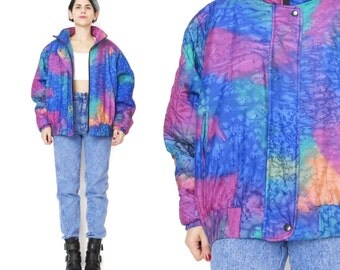 25% OFF SALE 80s Silk Bomber Jacket Neon Watercolor Rainbow Hand Dyed Artist Quilted Jacket Winter Zip Up Jacket Warm Womens Ski Coat (M/L)