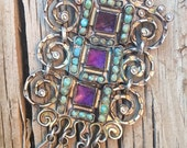 Signed Matl turquoise amethyst sterling silver chandelier brooch with articulated parts, vintage Matilde Poulat signed brooch circa 1950s