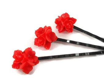 Red and Black Bobby Pin Set Red Flower Hair Accessories Gothic Hair Accessories Flower Bobby Pin Gifts for Teen Girls Hair Bun Accessories