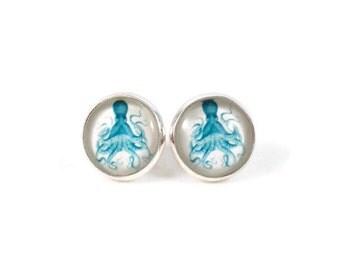 Blue Octopus Earrings Sea Creature Jewelry Octopus Jewelry Blue and White Earrings Post Earrings Large Round Earrings for Teens Stud Earings