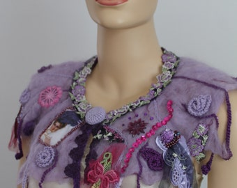 Lilac Nuno Felted Crochet Boho Shabby Chic Scarf Capelet   Collar  - Textile Collage -Wearable Art - OOAK