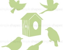 Additional Set of Birds and Birdhouse for Shelving Tree Wall Decal