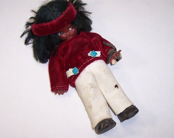 "Vintage American Indian Doll 6"", As-Is, Old Souvenir, Wild Hair, White Leather Pants, Velvet Shirt"
