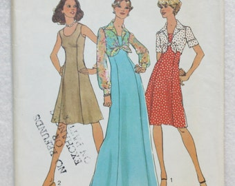 """Size 12, bust 34"""" 1974 Vintage Simplicity  Sewing Pattern 6761  Princess Seamed Dress and Unlined Tie Front Jacket"""