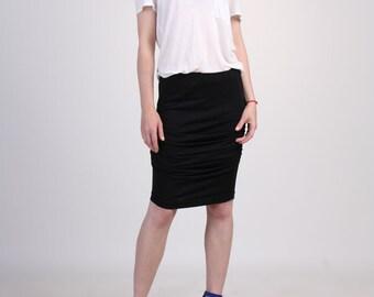 Shirred Jersey Skirt, Black Pencil Skirt, Ruching Skirt, Black Jersey Skirt, Knee Length Skirt, Pull On Skirt, Sexy Skirt  - Black