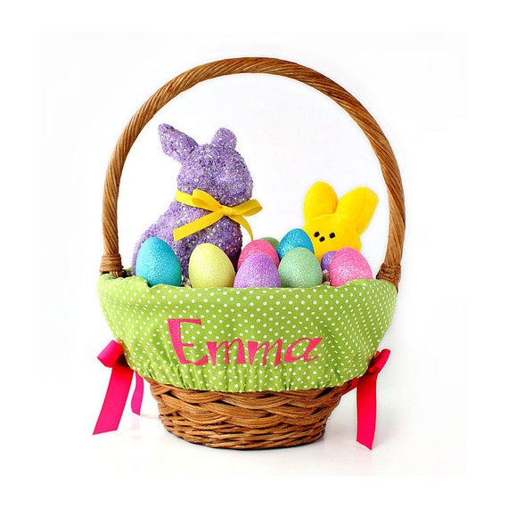 Personalized Easter Basket Liner Green Dots By Ourlittlemesses