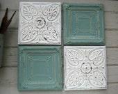 "Tin ceiling tile SET  12"" x 12"" framed tiles.  Antique tins circa 1900. Aqua and White Wall Art. FRAMED Metal Wall Art. 10th Anniversary."
