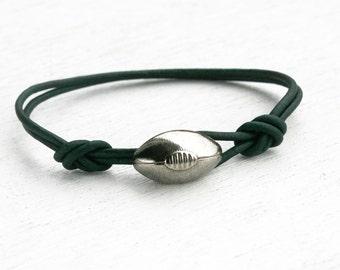 Football Bracelet / Football Leather Bracelet (Many Colors)