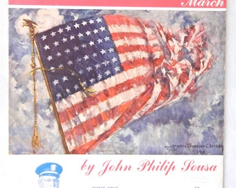 Sheet Music, Stars and Stripes Forever March, John Philip Sousa, Patriotic USA Piano Solo, 1954